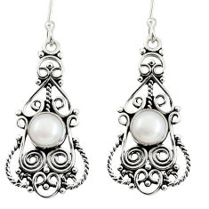 Clearance Sale- 925 sterling silver 2.98cts natural white pearl dangle earrings jewelry d38031