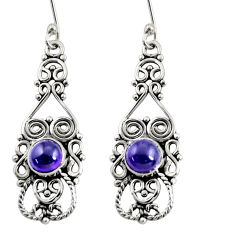 Clearance Sale- 2.81cts natural purple amethyst 925 sterling silver dangle earrings d38032