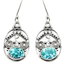 4.08cts natural blue topaz 925 sterling silver dangle earrings jewelry d38033