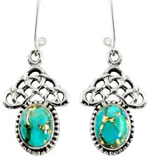 ver 5.12cts blue copper turquoise dangle earrings jewelry d38034