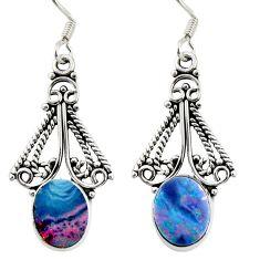 5.80cts natural blue doublet opal australian 925 silver dangle earrings d38035