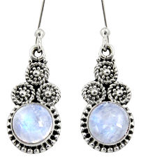 Clearance Sale- 5.36cts natural rainbow moonstone 925 sterling silver dangle earrings d38036