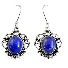 Clearance Sale- 10.24cts natural blue lapis lazuli 925 sterling silver dangle earrings d38037