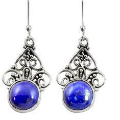 Clearance Sale- 925 sterling silver 8.66cts natural blue lapis lazuli dangle earrings d38038