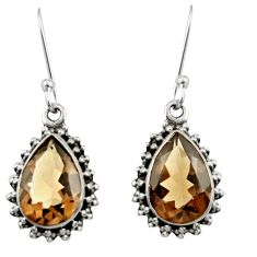 Clearance Sale- 10.32cts brown smoky topaz 925 sterling silver dangle earrings jewelry d38039