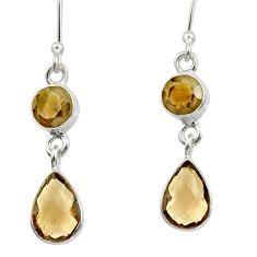 6.64cts brown smoky topaz 925 sterling silver dangle earrings jewelry d38040