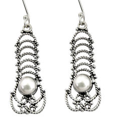 2.97cts natural white pearl 925 sterling silver dangle earrings jewelry d38042