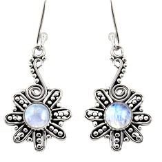 Clearance Sale- 2.72cts natural rainbow moonstone 925 sterling silver dangle earrings d38043