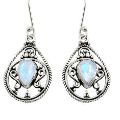 Clearance Sale- 4.70cts natural rainbow moonstone 925 sterling silver dangle earrings d38046