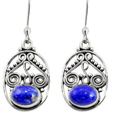 Clearance Sale- 4.08cts natural blue lapis lazuli 925 sterling silver dangle earrings d38055