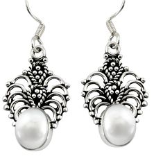 Clearance Sale- 6.45cts natural white pearl 925 sterling silver dangle earrings jewelry d38059