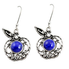 Clearance Sale- 2.46cts natural blue lapis lazuli 925 sterling silver dangle earrings d38066
