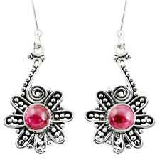 Clearance Sale- 2.53cts natural red garnet 925 sterling silver dangle earrings jewelry d38068