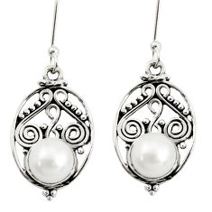 Clearance Sale- 5.39cts natural white pearl 925 sterling silver dangle earrings jewelry d38069