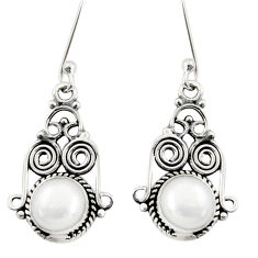 Clearance Sale- 4.43cts natural white pearl 925 sterling silver dangle earrings jewelry d38072