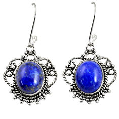 Clearance Sale- 9.31cts natural blue lapis lazuli 925 sterling silver dangle earrings d38075