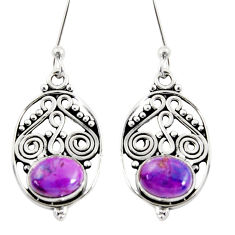 Clearance Sale- 3.58cts purple copper turquoise 925 sterling silver dangle earrings d38076