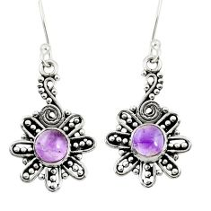 Clearance Sale- 2.22cts natural purple amethyst 925 sterling silver dangle earrings d38077