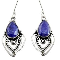 Clearance Sale- 6.03cts natural blue sapphire 925 sterling silver dangle earrings jewelry d38082