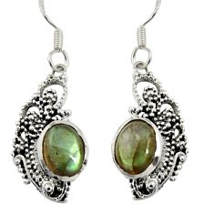 Clearance Sale- 4.71cts natural blue labradorite 925 sterling silver dangle earrings d38089