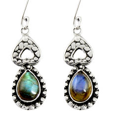 Clearance Sale- 6.02cts natural blue labradorite 925 sterling silver dangle earrings d38090