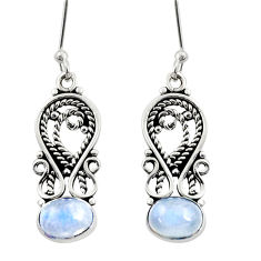 Clearance Sale- 3.98cts natural rainbow moonstone 925 sterling silver dangle earrings d38093