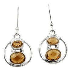 Clearance Sale- 925 sterling silver 6.01cts brown smoky topaz dangle earrings jewelry d38099
