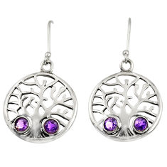 Clearance Sale- 1.91cts natural purple amethyst 925 sterling silver tree of life earrings d38102