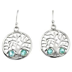 1.92cts natural blue topaz 925 sterling silver tree of life earrings d38105
