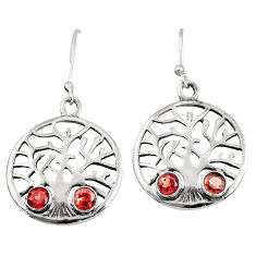 Clearance Sale- 2.01cts natural red garnet 925 sterling silver tree of life earrings d38106