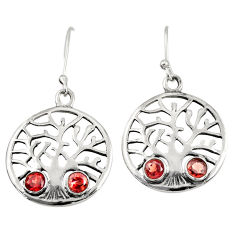 1.92cts natural red garnet 925 sterling silver tree of life earrings d38107