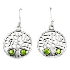 Clearance Sale- 1.92cts natural green peridot 925 sterling silver tree of life earrings d38109