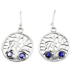 Clearance Sale- 2.01cts natural blue iolite 925 sterling silver tree of life earrings d38111