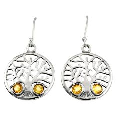 1.92cts natural yellow citrine 925 sterling silver tree of life earrings d38112