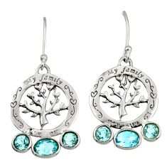 925 sterling silver 5.07cts natural blue topaz tree of life earrings d38113