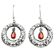 Clearance Sale- 2.33cts natural red garnet 925 sterling silver dangle earrings jewelry d38118