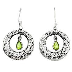Clearance Sale- 2.34cts natural green peridot 925 sterling silver dangle earrings jewelry d38119