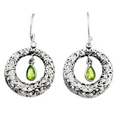 925 sterling silver 2.44cts natural green peridot dangle earrings jewelry d38120