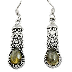 Clearance Sale- 4.22cts natural blue labradorite 925 sterling silver dangle earrings d38121