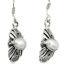 Clearance Sale- 3.18cts natural white pearl 925 sterling silver dangle earrings jewelry d38125