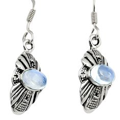 Clearance Sale- 3.66cts natural rainbow moonstone 925 sterling silver dangle earrings d38126