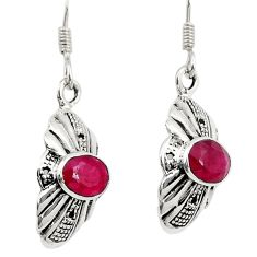 Clearance Sale- 3.31cts natural red ruby 925 sterling silver dangle earrings jewelry d38130