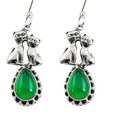 925 sterling silver 5.28cts natural green chalcedony two cats earrings d38131