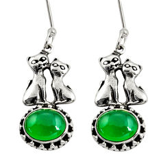 Clearance Sale- 5.38cts natural green chalcedony 925 sterling silver two cats earrings d38133