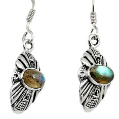 Clearance Sale- 925 sterling silver 3.49cts natural blue labradorite dangle earrings d38139