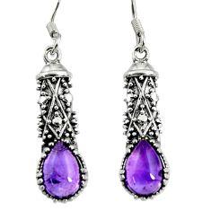 925 sterling silver 4.92cts natural purple amethyst dangle earrings d38144