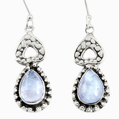 Clearance Sale- 5.52cts natural rainbow moonstone 925 sterling silver dangle earrings d38146