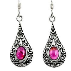 925 sterling silver 4.30cts natural red garnet dangle earrings jewelry d38151