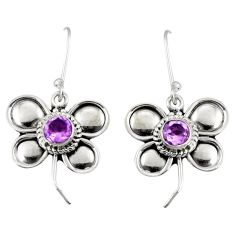 1.92cts natural purple amethyst 925 sterling silver dragonfly earrings d38154