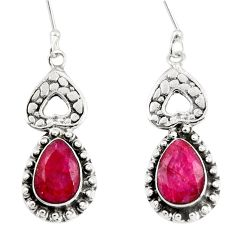 Clearance Sale- 8.22cts natural red ruby 925 sterling silver dangle earrings jewelry d38157